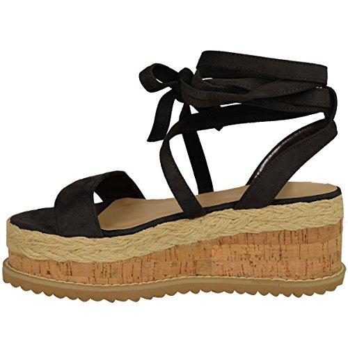 Femmes Paltes Liège Sandales Espadrille Semelle Compense Cheville Chaussures À Lacets Taille Faux suède noir/bout ouvert/bride