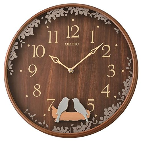 Seiko Swinging Bird Pendel Wanduhr mit Holz Effekt Schutzhülle, Braun, 10,2x 37,8x 37,8cm