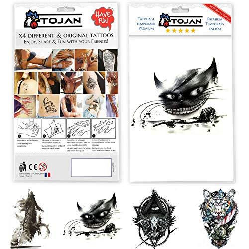 Tattoo Ephemere Schwarz und Weiß Dark Tojan / 4 verschiedene Tattoo Boards (Die Dunkle Halloween-make-up Katze)