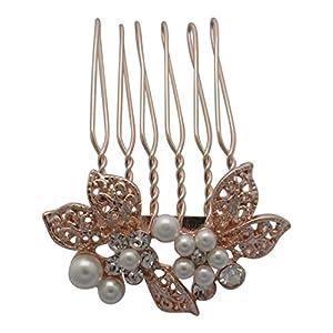 Pick a Gem kleine Rose Gold Diamant und Pearl Set Blume Haar Kamm/Haarschmuck Zubehör