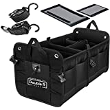 DOUBLE R BAGS Multi Compartments Collapsible Portable car Accessories for Trunk Dicky Organizer for Garage, SUV, Cars, Minivan (Black)