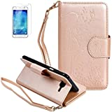 ISENPENK ISENPENK Samsung Galaxy J5(2015)/J500F/J5 Duos Flip Case,Original Flip Bookstyle Cover Wasserdicht Shockproof Anti Slip Protection Multifunktions Leather Case Wallet Hülle,Mädchen Vögel und Katze Print Muster Pattern Wallet Case mit Intern Karte Schlitz,Anti-Sturz Stoßfest Stoßdämpfend Triangle Hemming Wallet Tasche,Magnetic Closure Schutzhülle mit Standfunktion Handy Gürtel für Samsung Galaxy J5(2015)/J500F 5.0Zoll-[gold]+Panzerglas/Schutzfolie/Displayschutzfolie