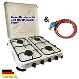 Camping Gaskocher Hochwertiger 4 flammiger Kocher  / Lieferung inklusive 150cm Anschlussschlauch und Druckminderer