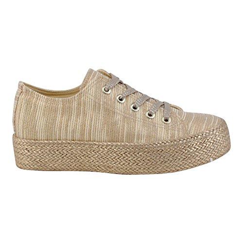Damen Sneaker Sportschuhe Schnür Freizeit Fitness Low Schuhe Gold