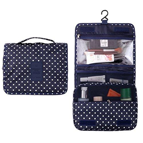 IPLUS portatile pieghevole da viaggio Make Up Beauty Case con Gancio Borse Organizzatore cosmetici Borse blu Navy