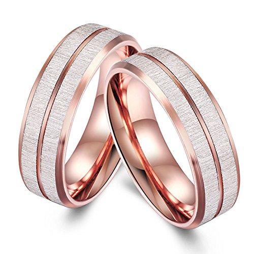 Bishilin coppie anelli da acciaio inossidabile uomo gays alta lucido larghezza 6mm rotondo fedi nuziali anelli oro rosa per coppiemisura 17 & misura 17