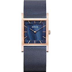 Bering Women's Blue Gold Plated Bracelet Steel Case Quartz MOP Dial Analog Watch 10426-367