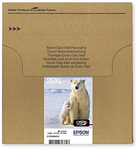 Encre d'origine EPSON Multipack Ours polaire T2636 : cartouches Noir XL, Cyan XL, Magenta XL, Jaune XL [Emballage « Déballer sans s'énerver par Amazon »]