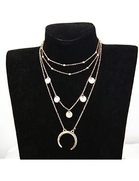 Doitsa Choker Kette Halskette mit Pailletten und Mond Anhänger Mehrreihig Kette Halsband Kette, Als Geschenk für...