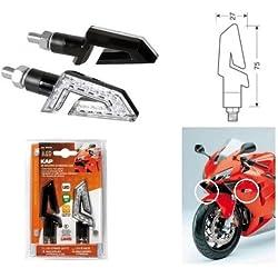 Compatible avec Honda CB 500 Paire de Clignotants pour Moto à LED 12 V Lampe 90246 homologuée Noire Indicateur de Direction lentille Blanche lumière Orange