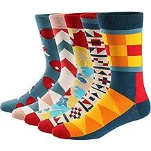 Ueither Calcetines Estampados Hombre Casuales Divertidos Calcetines altos de Colores con Algodón Fino