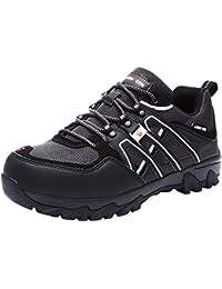 Zapatillas de Seguridad Hombre, LM-18 Zapatos de Seguridad Antideslizantes con Punta de Acero Antipinchazos Calzados de Trabajo (42 EU, Negro/Negro)