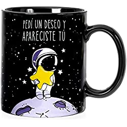 "Taza mug desayuno de cerámica negra 32 cl. con frase bonita ""Pedí un deseo y apareciste tú"" modelo Estrella Fugaz"
