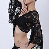 Costume de danseuse du ventre boléro pour femmes/ filles avec manches évasées percées en dentelle (Noir)