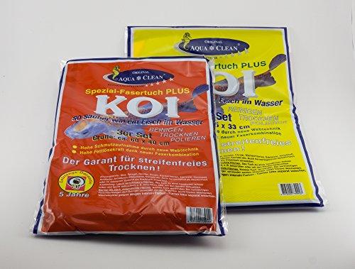 AQUA CLEAN Koi Microfaser Tuch Spezialfaser Fenstertuch groß und klein, Set 6-teilig, zum Reinigen Trocknen Polieren streifenfrei, 60x40cm & 45x33cm