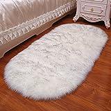 Schaffell Teppich Kunstpelz Weichen Flauschigen 5-8 Cm Lange Wolle Wolle Matte Sofa Kissen Yoga Matten,Grey1-60 * 90cm
