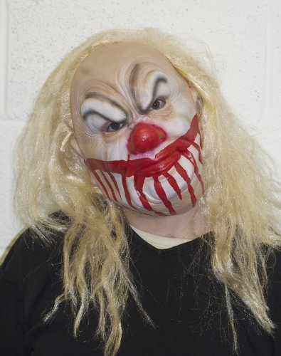 (The Rubber Plantation TM 619219290500Smiley Killer Clown Maske Halloween Kostüm und blond Perücke Horror Scary Zubehör, Unisex, ONE SIZE)