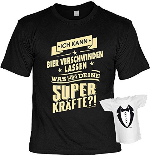 Fun T-Shirt Ich kann Bier verschwinden lassen Shirt 4 Heroes geil bedruckt Geschenk Set mit Mini Flaschenshirt Schwarz