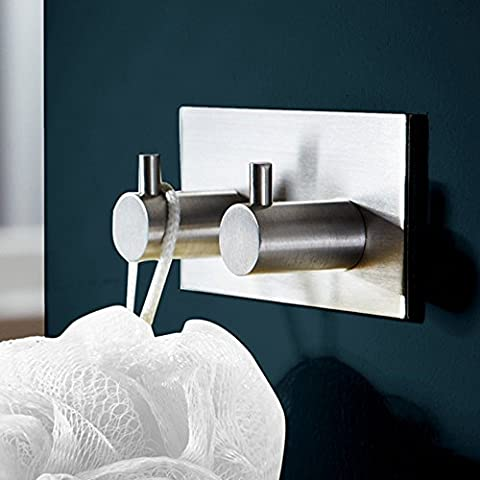 KES Self Adhesive Double Coat and Robe Hook SUS304 Stainless Steel, Brushed Finish, A7060H2