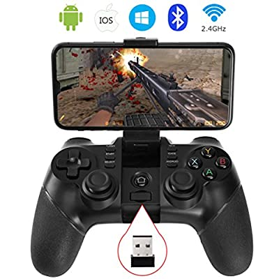 ALLCACA Bluetooth Game Controller Wireless Gamepad Rechargeable Phone Controller with Vibrating Function, Compatible with Android and IOS Phone, Tablet, TV, TV Box, VR, Black (Controller with Receiver)
