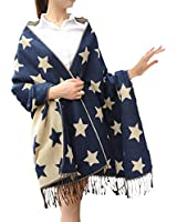 MNBS Wome's Cute Stars Print Large Cashmere Winter Fringe Blanket Shawl Scarf