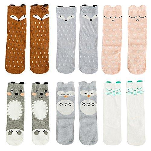 VWU Pack de 6 Pares Calcetines Bebé Unisexo Grueso Medias Animal Niñito Algodón 0-1/1-3/3-5 Años (1-3 Años, Set 5)