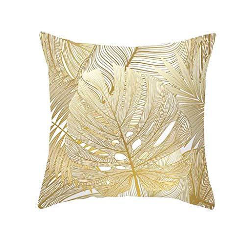 Xmiral Kissenbezüge Kissenhüllen Polyester Golden Blätter Drucken Pillowcase 45cmx45cm(P) -