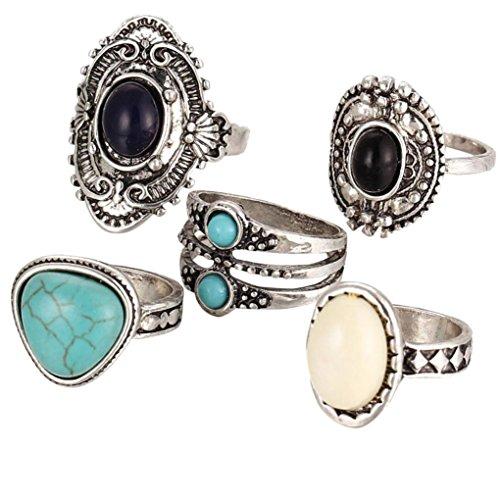 (Frauen Mädchen 2018Fashion Ringe Set Mingfa Bohemian Vintage Stack Ringe vor Knuckle Band Ringe Hochzeit Engagement Ring Schmuck 5pc)