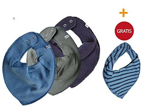Preisvergleich Produktbild  SUPER KOMBI-SET  PIPPI 3er Set Jungen Baby Kinder HALSTUCH 3 Stück taubenblau / mittelgrau / schwarz  + GRATIS 1 Bestseller Halstuch gesteift in hellblau & blau
