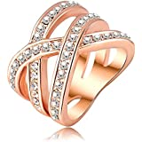 AnaZoz Fashion Jewelry 18K Rose Gold Plated Austrian Crystal SWA Element Women Rings Exaggerated Ring UK Size