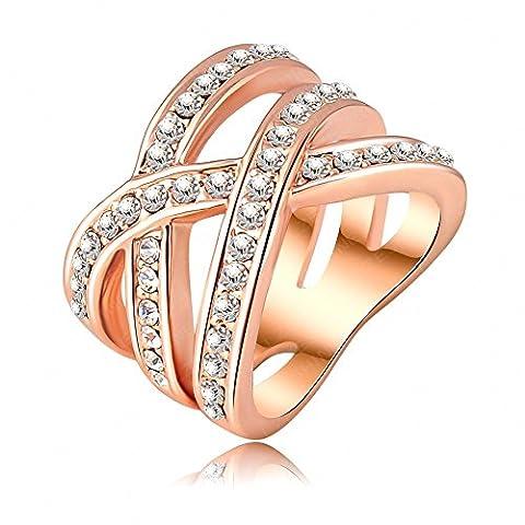 AnaZoz Schmuck 18K Rose Gold Überzog Österreichisches Kristall Frauen Ohrringe Übertrieben Ring (Frauen Österreichischen Kristall-ring)