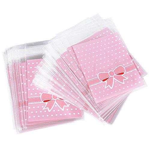 (8*10cm + 3cm) 200pz Sacchetti Plastica Piccoli Rosa Sacchettini Bustine Trasparenti Confezioni per Regalo Biscotti Caramella Confetti Battesimo Nascita Compleanno