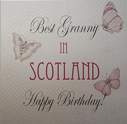 white cotton Card Best Granny en Écosse ville Carte Happy Birthday Papillon Vintage