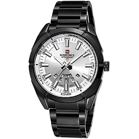pkaty da uomo Business analogico al quarzo calendario settimana impermeabile in acciaio inox Bracciale orologio da polso nero