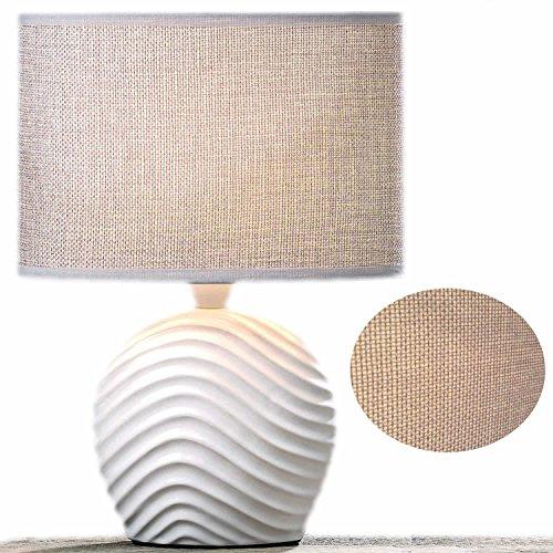 LS-LebenStil Design Tischleuchte Tischlampe Büroleuchte Schreibtischlampe Keramik Welle Sylt Weiss Beige 28cm hoch -