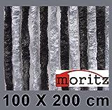 Moritz® Chenille Flauschvorhang Fliegenschutz 100 x 200 cm NEU 24 Stränge (dunkelgrau / grau)
