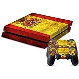 Spanien Flaggen Muster Flagge / Retro Style Designfolie für Playstation 4 Konsole (für beide Seiten + Ränder / Full Body Aufkleber) und für 2 Controller / Sticker, Skin für PS4 Spielkonsole