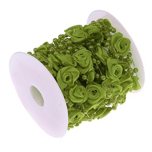 e Perlenband Perlenkette Perlengirlande mit Rosen Blumen Hochzeit Deko Perlen Tischdeko - Grün, 10m (Grüne Hochzeit Einladungen)