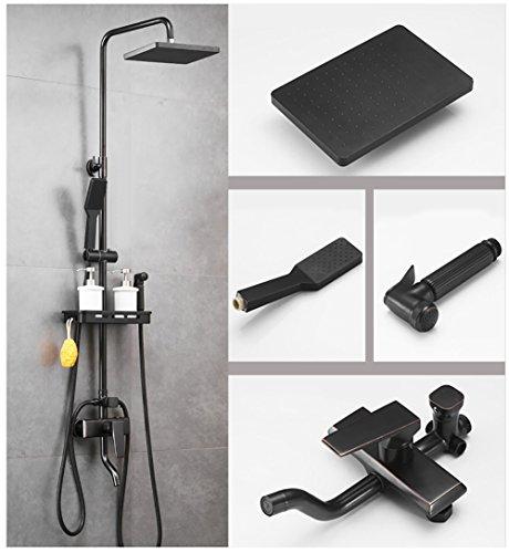 YLG Duschsystem Mit Duschset Duscharmatur Dusche Eckig Regendusche, Plattierung Metall Schwarz