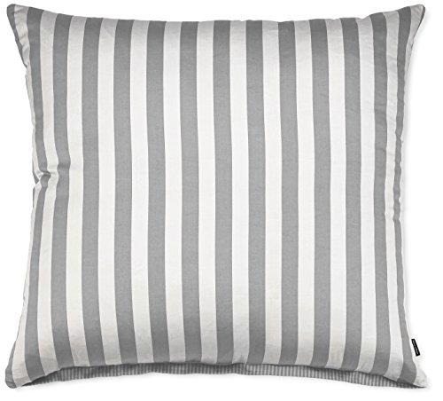 Marc O'Polo 730001-102DE-022 Kissenbezug Classic Stripe, Maße: 80 x 80 cm, Material: 100% Baumwolle / Satin, Farbe: Grau