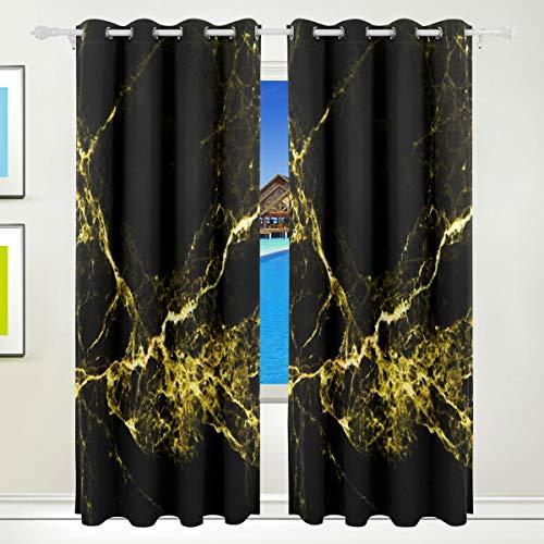 XiangHeFu Schöne Einrichtung Verdunklungsvorhänge mit Tülle Top Abstrakt Tinte Marmor Stein Textur Schwarz Gold Vorhänge Set von 2Platten, je 55W x 84L Zoll für Home Wohnzimmer Schlafzimmer Büro -