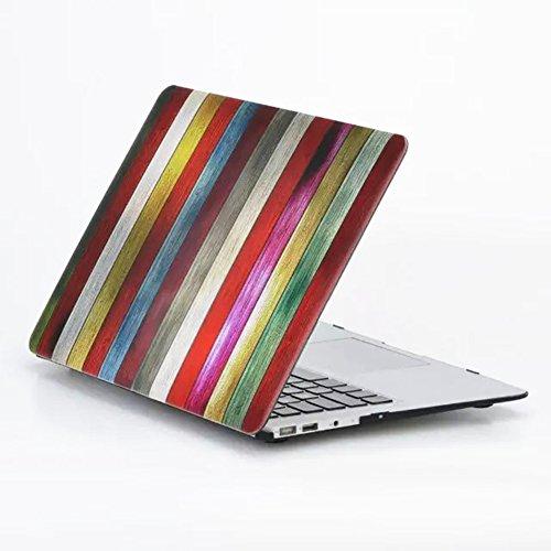 Se7enline MacBook-Gehäuse, matt, gefrosteter Kunststoff, Hartschalen-Abdeckung mit transparenter Silikon-Tastaturfolie und Displayschutzfolie Wood Grain Colorful Macbook Pro 13'' Retina (Model A1502/A - Wood Grain Colorful