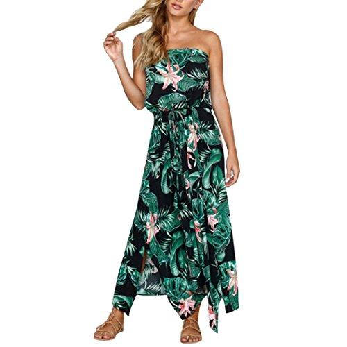 Kleid Damen,Binggong Womens Boho Blumendruck Schulterfrei Kleid Damen Sommer Strand Lace Up Dress Grünes Kleid Sommerkleider Lange Kleider Festlich (S, Grün2)