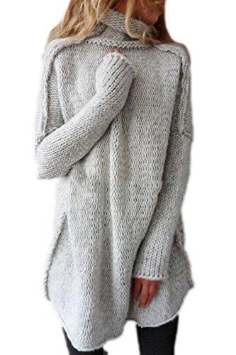 Les Femmes Plus Élégante Veste De Tricot Crochet De Manteau Pull Col Roulé Gros Hiver Haut De La Page Grey S