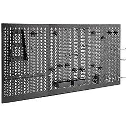 VonHaus - Panneau perforé 3 pans en métal - 45 pièces - Rangement mural pour outils - Support mural pour marteaux, tournevis, clés, pinces et autres outils - Pour atelier ou garage