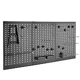 VonHaus — Panneau perforé 3 pans en métal — 45 pièces — Rangement mural pour outils — Support mural pour marteaux, tournevis, clés, pinces et autres outils — Pour atelier ou garage