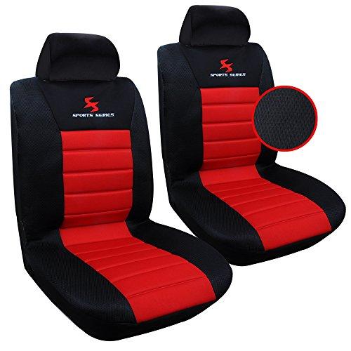 EUGAD Universal Sitzbezüge für Auto Schonbezüge Sitzbezug Schonbezug Set Sitzschoner Einzelsitzbezug schwarz-rot AS7257-2
