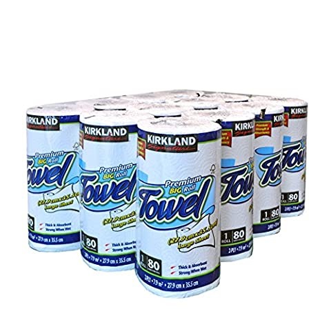 Kirkland Signature 12 x 80 Sheet Pack Thick Absorbent Premium Kitchen Big Roll Paper Towel
