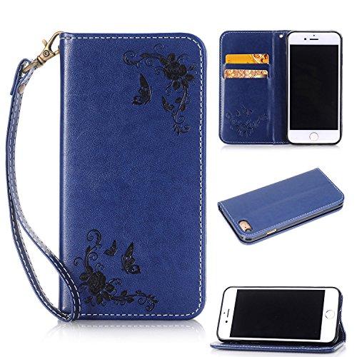 Cover iPhone 7,ToDo iPhone 7 Custodia Pelle Premium PU 3D Stampata Folio Sottile Silicone Morbido Case ID Slot per Scheda Antigraffio Magnetico Flip Protettiva Invisibile Chiusura Magnetica Supporto F blu marino