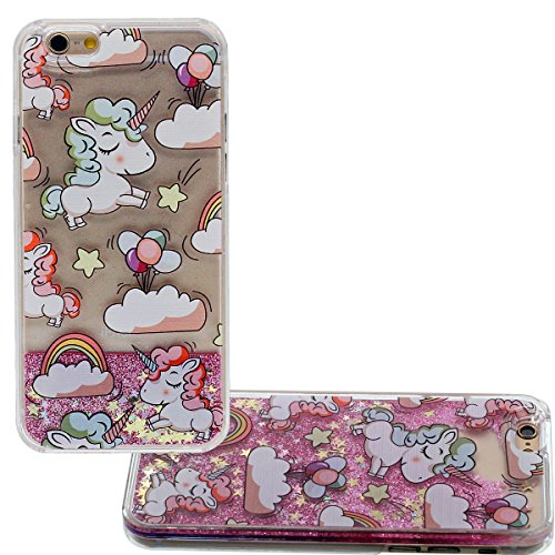 Custodia per Apple iPhone 7 Plus 5.5, Rigida PC Trasparente Cover Copertura posteriore Cartone Animato Carina Unicorno Modello Serie - che fluisce Acqua Liquido Design Rosa
